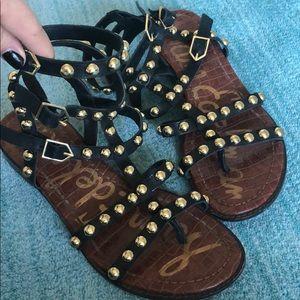 Eavan black gladiator sandal with gold studs
